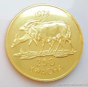 Zlatá mince antilopa Nyala-Malawi 1978