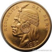 Zlatá mince Inka Manco Capac-Peru 1967