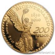 Investiční zlatá mince 200 peso-Bicentenario Mexiko